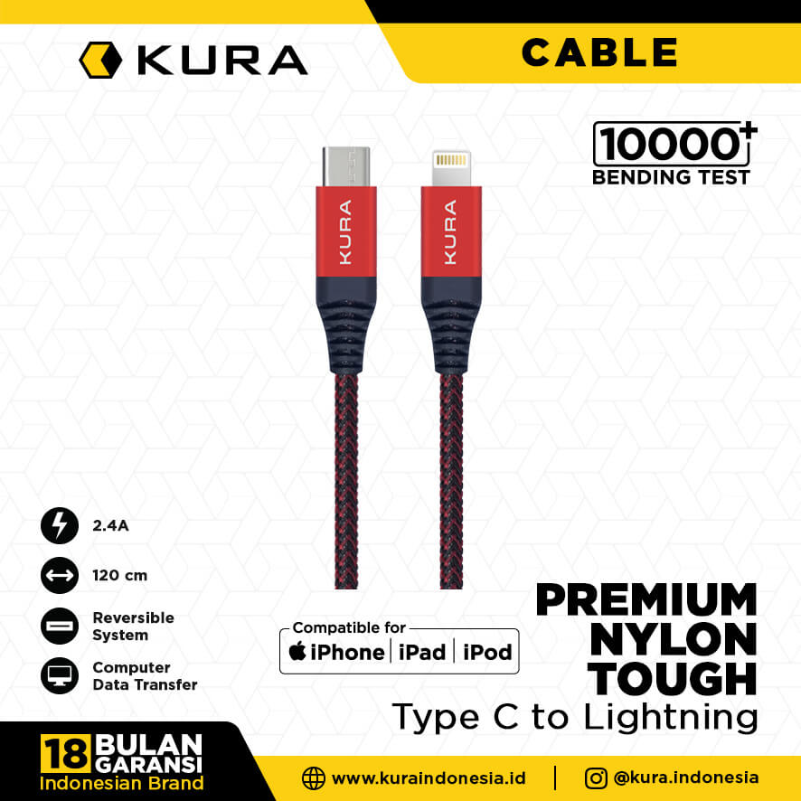 KURA NYLON TOUGH CABLE C TO LIGHTNING