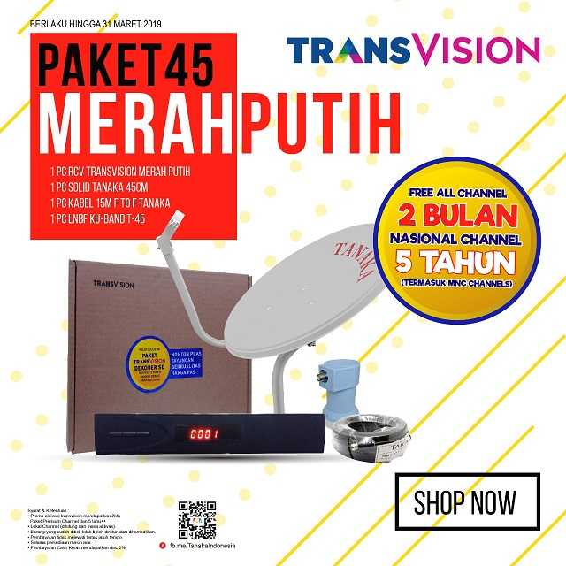 PAKET MERAH PUTIH 45CM TRANSVISION FREE ALL CHANNEL 2 BLN